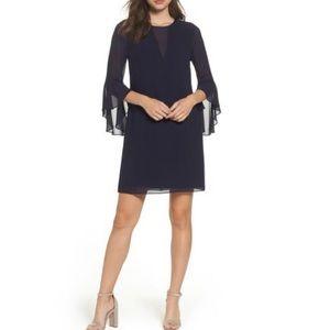 Vince Camuto Navy Souffle Chiffon Dress 6 NWT